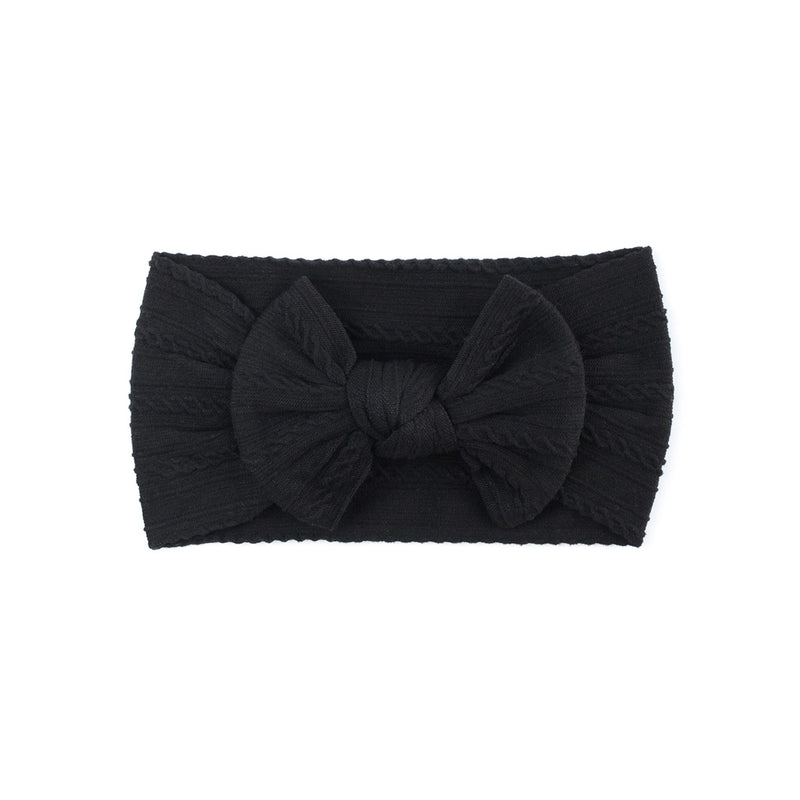 Cable Bow Headband - Black for baby, newborn and infant. Cute and beautiful. One size fit all