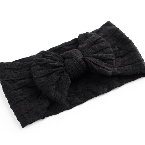Waffle Bow Headband - Black for baby, newborn and infant. Cute and beautiful. One size fit all