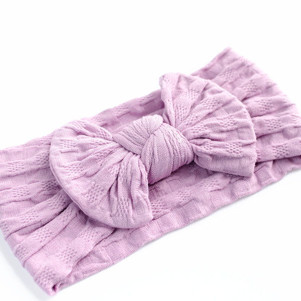 Waffle Bow Headband - Violet for baby, newborn and infant. Cute and beautiful. One size fit all
