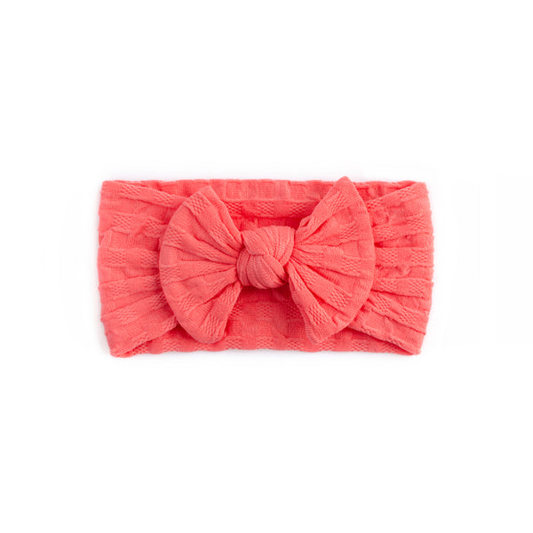 Waffle Bow Headband - Coral for baby, newborn and infant. Cute and beautiful. One size fit all