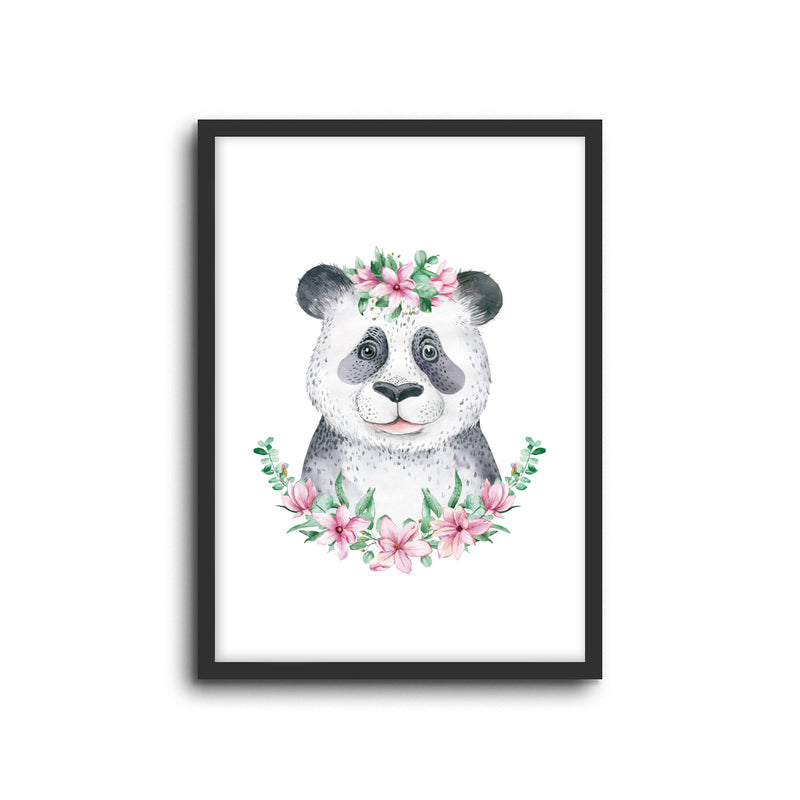 Panda - Floral Wall Print Baby Kids Room Nursery Art