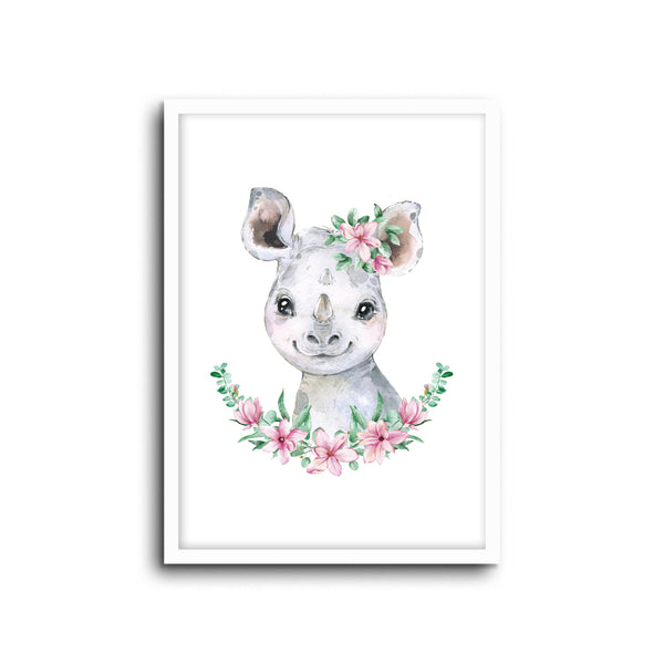 Rhino Floral Wall Print Baby Kids Room Nursery Art