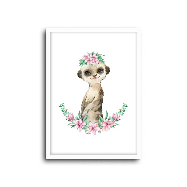 Meerkat - Floral Wall Print Baby Kids Room Nursery Art