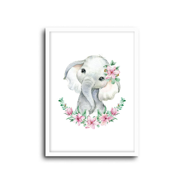 Elephant Floral Wall Print Baby Kids Room Nursery Art