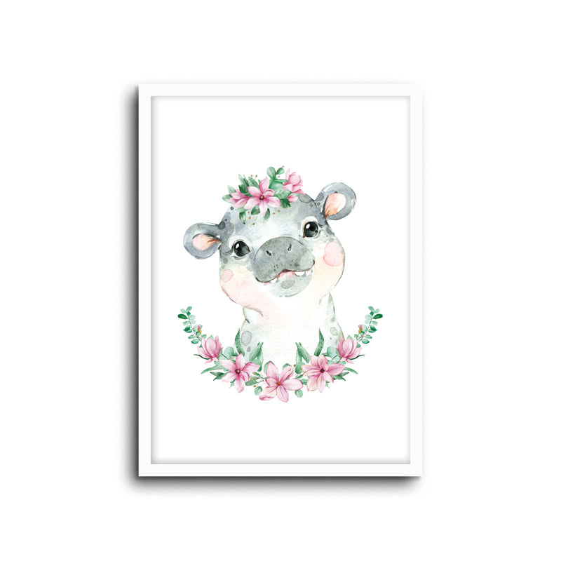 Hippo Floral Wall Print Baby Kids Room Nursery Art