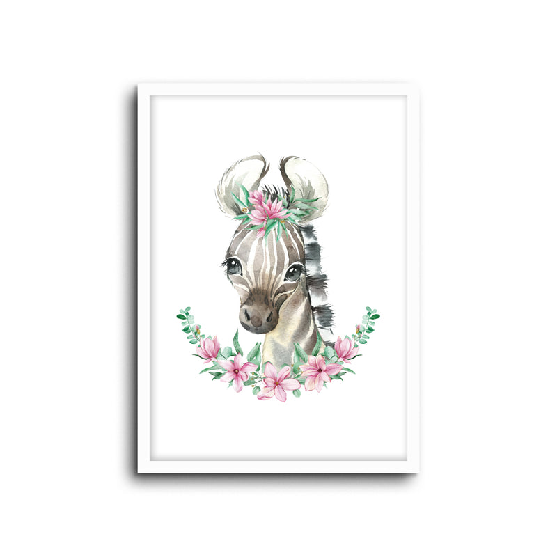 Zebra - Floral Wall Print Baby Kids Room Nursery Art
