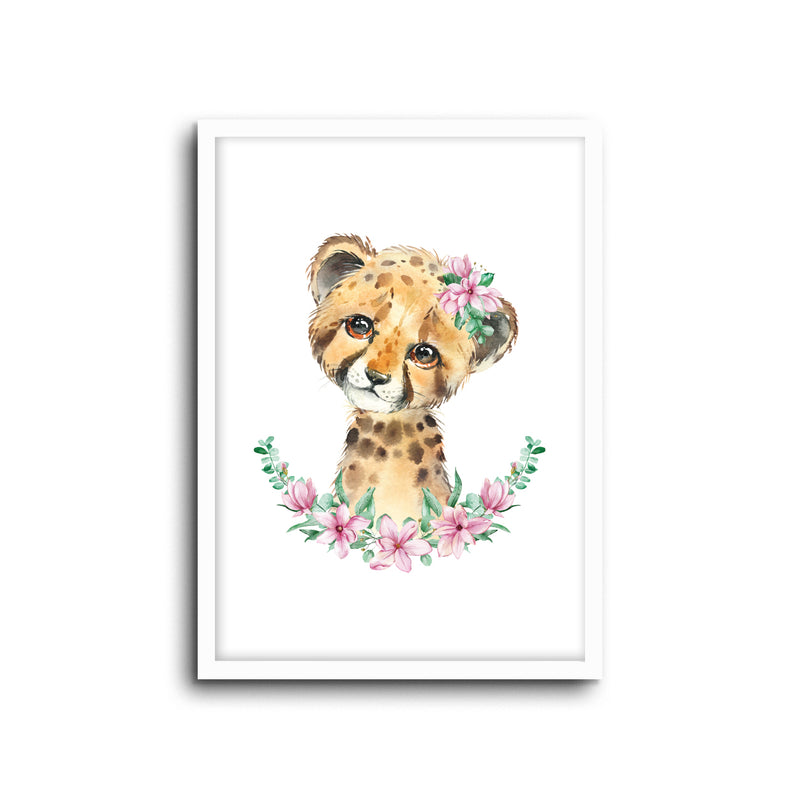 Cheetah - Floral Wall Print Baby Kids Room Nursery Art