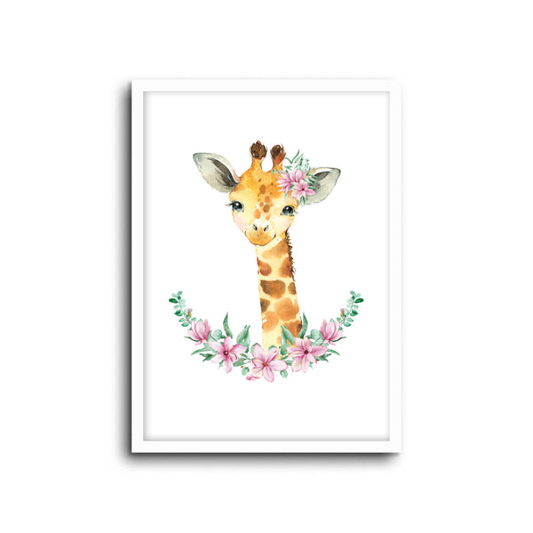 Giraffe - Floral Wall Print Baby Kids Room Nursery Art