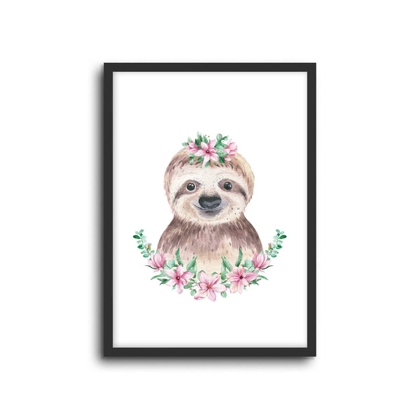 Sloth - Floral Wall Print Baby Kids Room Nursery Art