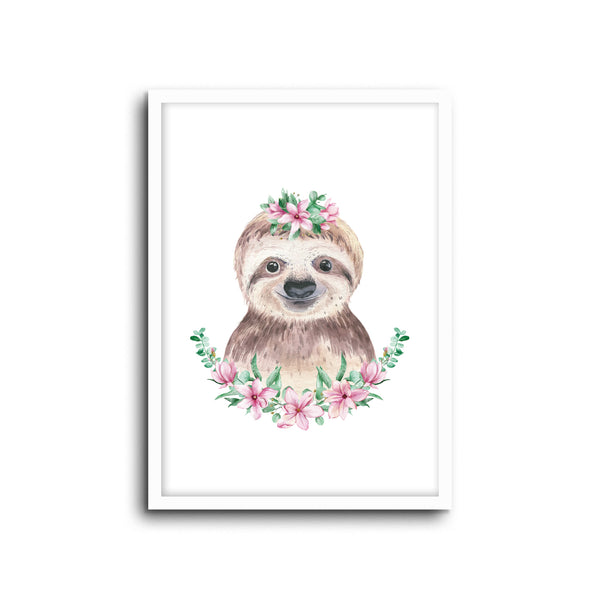Sloth - Floral Wall Print Baby Girl Kids Room Nursery Art Playroom