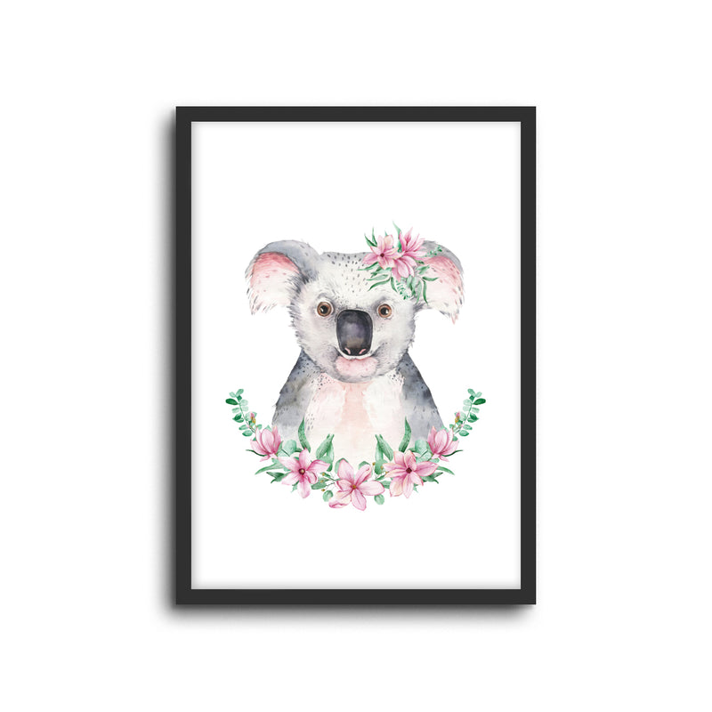 Koala - Floral Wall Print Baby Kids Room Nursery Art