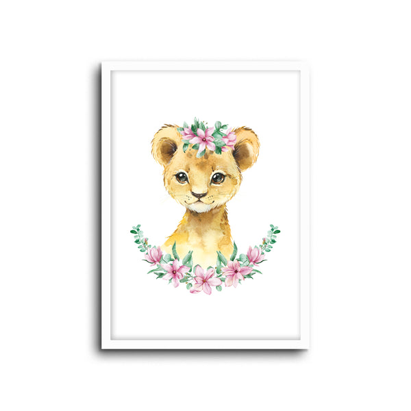 Lion - Floral Wall Print Baby Kids Room Nursery Art