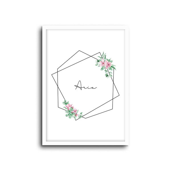 Floral Custom Name Wall Print Nursery Art Kids Bedroom Art