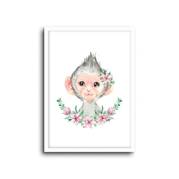Monkey Floral Wall Print Baby Kids Room Nursery Art