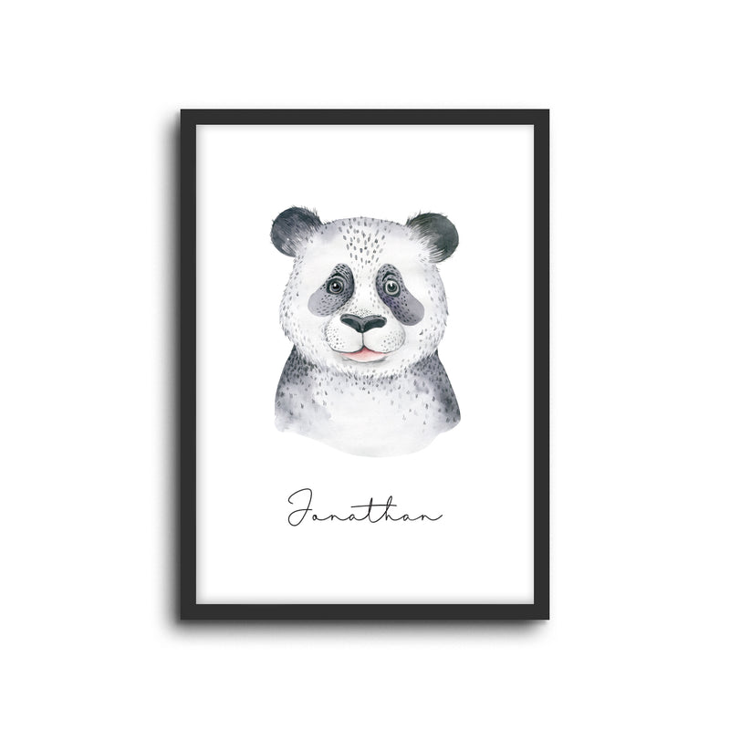 Panda Wall Print Baby Kids Room Nursery Art Custom Name