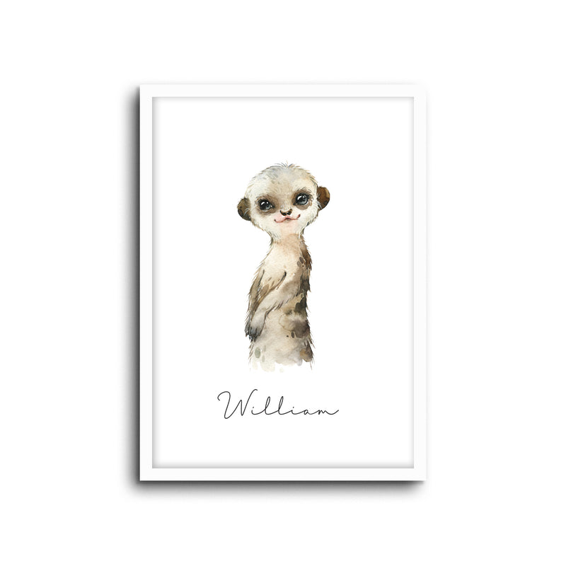 Meerkat Wall Print Baby Kids Room Nursery Art Custom Name
