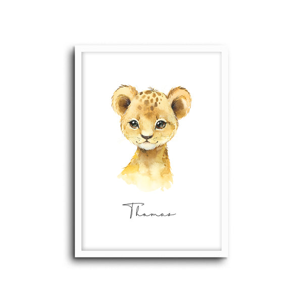 Lion Wall Print Baby Kids Room Nursery Art Custom Name