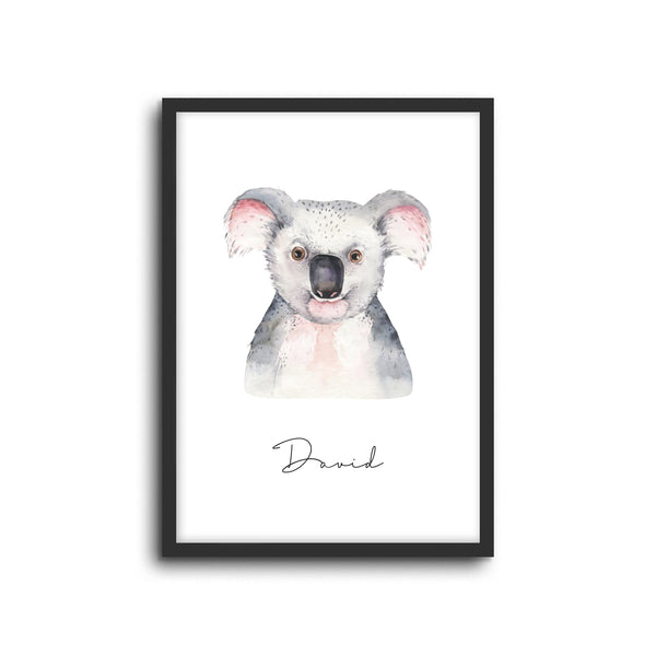Koala Wall Print Baby Kids Room Nursery Art Custom Name