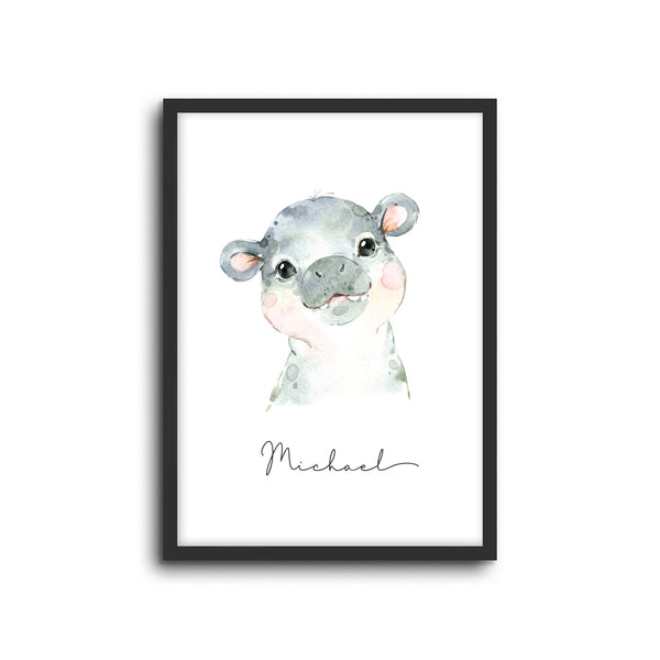 Hippo Wall Print Baby Kids Room Nursery Art Custom Name