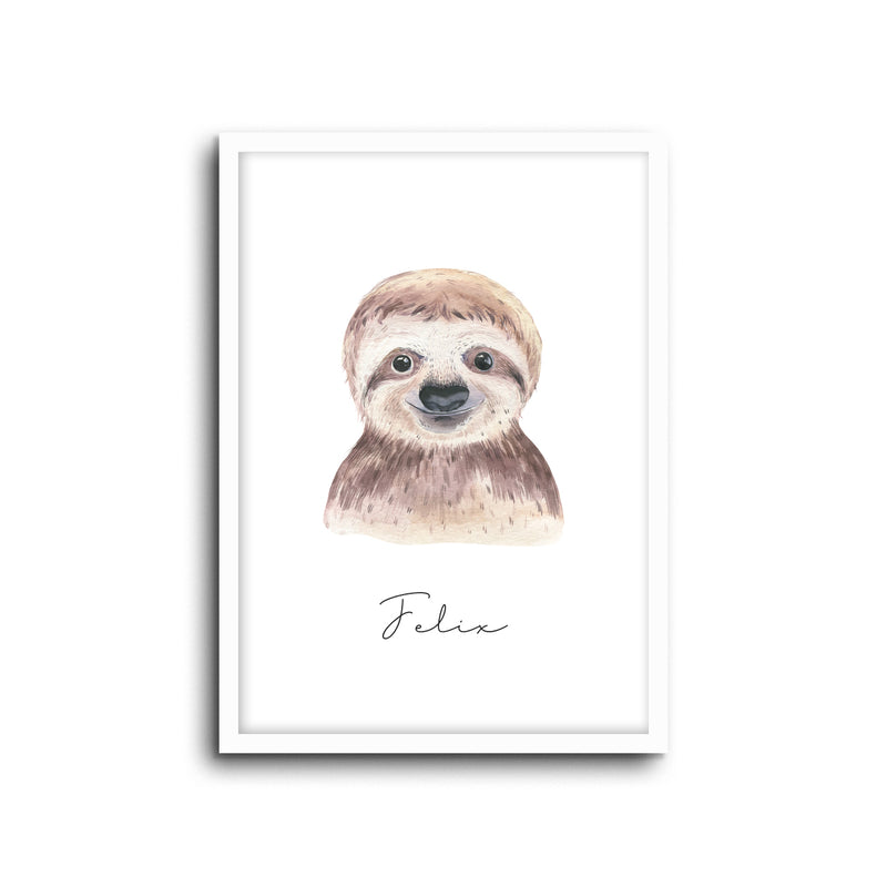 Sloth Wall Print Baby Kids Room Nursery Art Custom Name