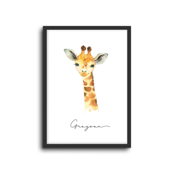 Giraffe Wall Print Baby Kids Room Nursery Art Custom Name