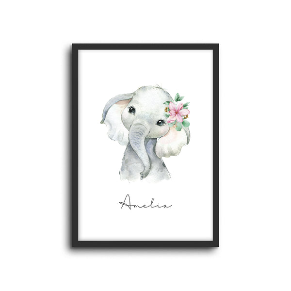 Elephant Wall Print Baby Kids Room Nursery Art Custom Name