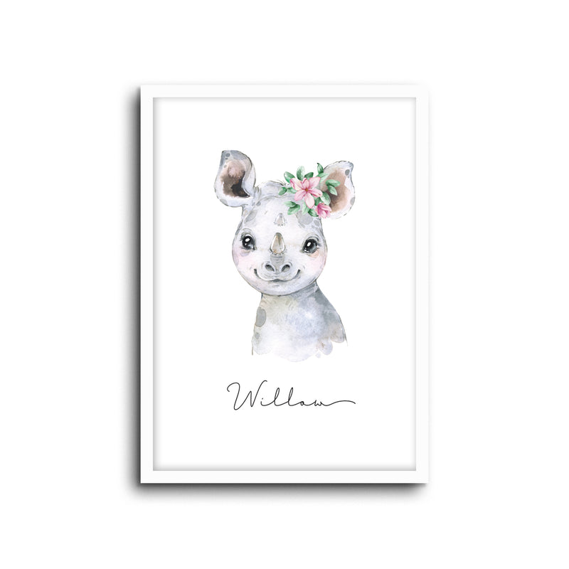 Rhino Wall Print Baby Kids Room Nursery Art Custom Name