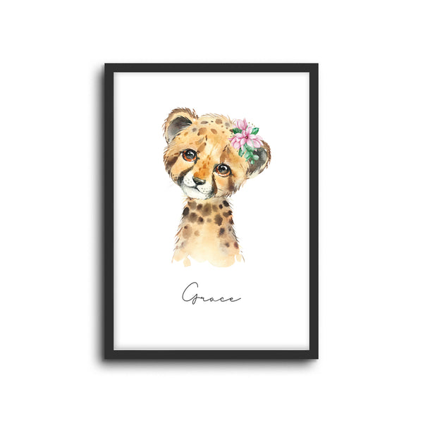 Cheetah Wall Print Baby Kids Room Nursery Art Custom Name