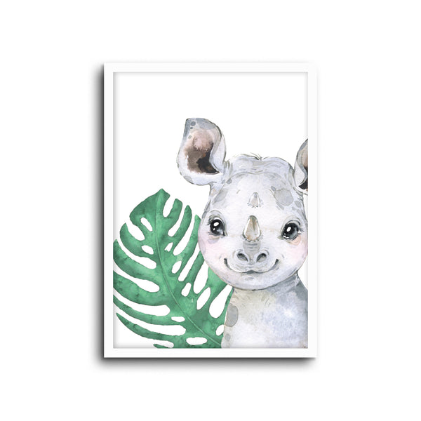 Safari Rhino Wall Print Baby Kids Room Nursery Art