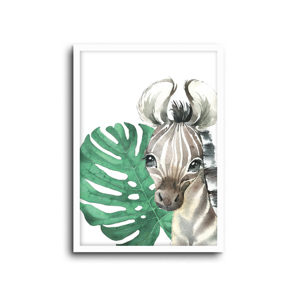 Safari Zebra Wall Print Baby Kids Room Nursery Art