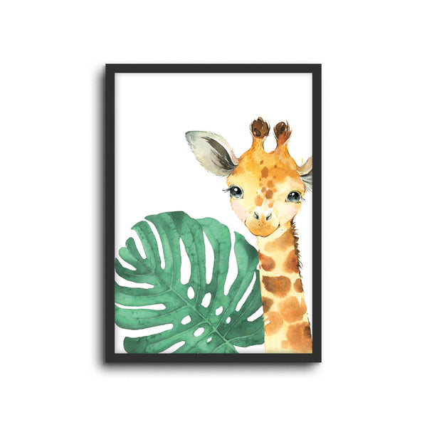 Safari Giraffe Wall Print Baby Kids Room Nursery Art