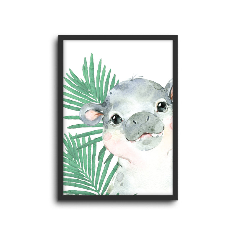 Safari Hippo Wall Print Baby Kids Room Nursery Art