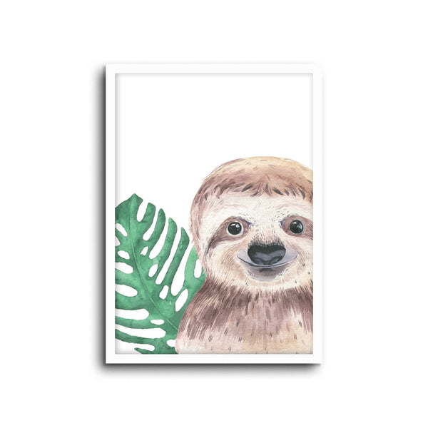 Sloth Cheetah Wall Print Baby Kids Room Nursery Art
