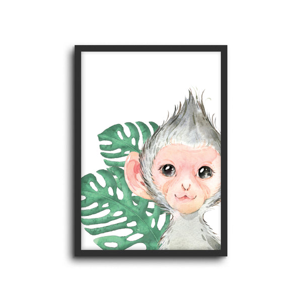 Safari Monkey Wall Print Baby Kids Room Nursery Art