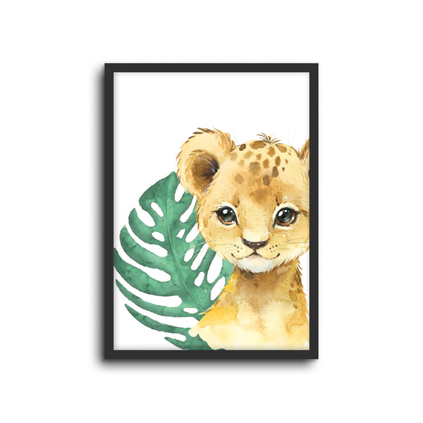 Safari Lion Wall Print Baby Kids Room Nursery Art