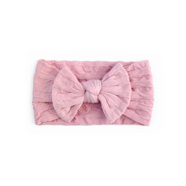 Waffle Bow Headbands - Dusty Pink - Baby Girl