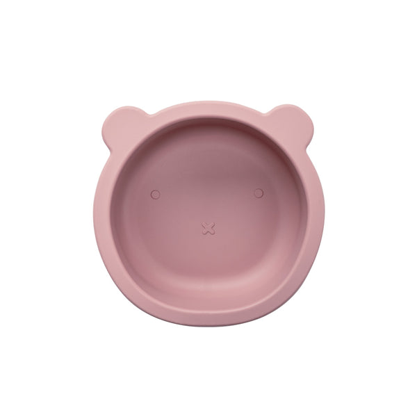 Silicone Suction Bear Bowl | Dusty Pink for baby and kids feeding