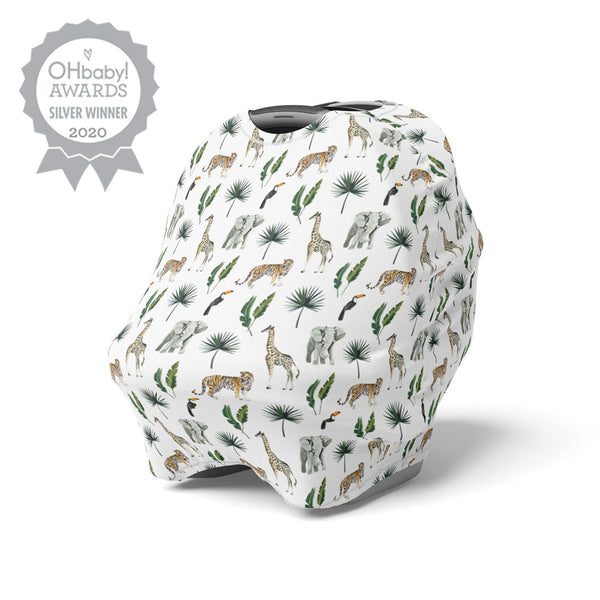 5 in 1 Multi Use Cover - Safari - Capsule Cover, Highchair Cover, Shopping Trolley Cover, Breastfeeding Cover, Nursing Scarf