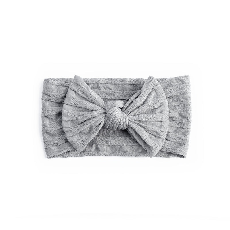 Waffle Bow Headbands - Grey - Baby Girl