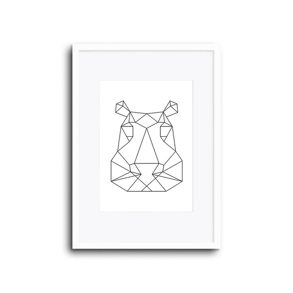 Wall Print Geometric Line Animals Hippo