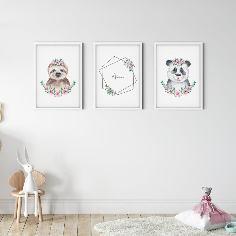 Panda - Floral Wall Print Baby Girl Kids Room Nursery Art Playroom