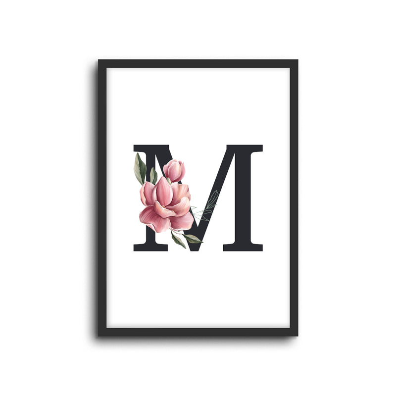 Magnolia Initials Letters Alphabet Wall Print Nursery Kids Room Decor