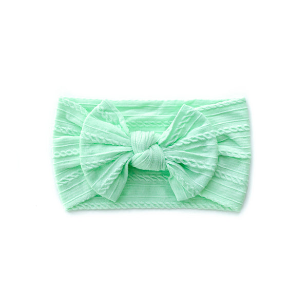 Cable Bow Headband - Mint for baby, newborn and infant. Cute and beautiful. One size fit all