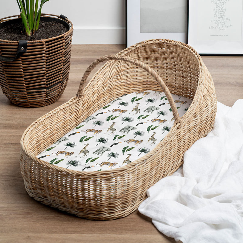 Fitted Bassinet Sheet & Change Mat Cover | Safari for baby nursery