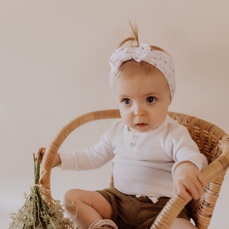 Classic Bow Headband - Eden for baby, newborn and infant. Cute and beautiful. One size fit all