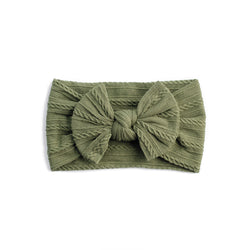 Cable Bow Headband - Olive for baby, newborn and infant. Cute and beautiful. One size fit all