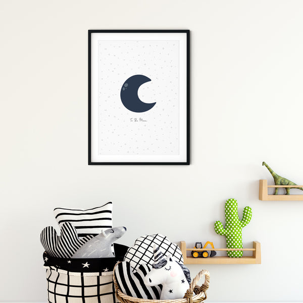 To The Moon wall print art for baby nursery or children's bedroom