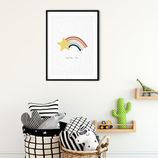 Shooting Star wall print art for baby nursery or children's bedroom