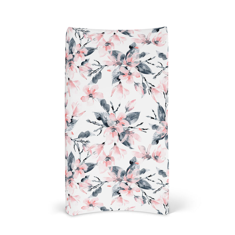 Fitted Bassinet Sheet & Change Mat Cover | Watercolour Blossom for baby nursery