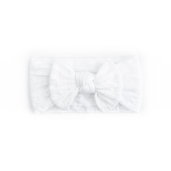 Waffle Bow Headbands - White - Baby Girl